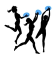 Young jumping girls silhouette vector