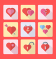 Various flat style heart icons set vector