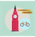 Big ben bike icon flat vector