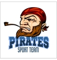 Pirate mascot with bandana and pipe vector