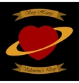 Valentines greeting card - heart as a planet vector