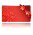 Greeting red card with bow vector