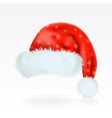 Red santa claus hat with the pattern of golden sno vector