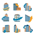 Urban buildings icons vector