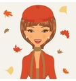Beautiful young woman in autumn vector