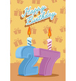 Happy birthday age 27 announcement and celebration vector