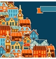 Town background design with cute colorful sticker vector