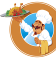 Jolly cook with a roasted chicken vector