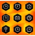 Clock and time hexagonal icons set on abstract vector