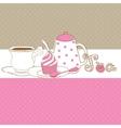 Cute card with tea cap pot and sweet cupcake vector