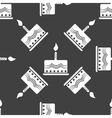 Cake web icon flat design seamless gray pattern vector