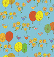 Abstract seamless autumn pattern with birds trees vector