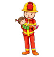 A drawing of a fireman rescuing a young girl vector