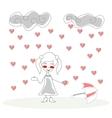 Doodle girl with umbrella under rain of hearts vector