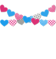 Stitched hearts buntings garlands isolated on vector