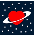 Valentines greeting card heart as a planet vector