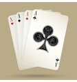 Four aces playing cards suit winning poker hand vector