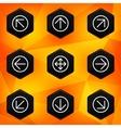 Arrow hexagonal icons set on abstract orange vector