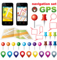 Navigation set with icons gps vector