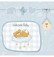 Baby shower card with sleepy teddy bear vector