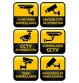 Security camera sign set vector