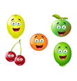 Cartoon fruit set 12 vector