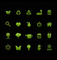 Green eco icon set icon black background vector