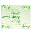 Three spring green leaves banners vector