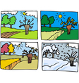 Four seasons cartoon vector