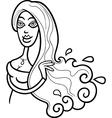 Woman aquarius sign for coloring vector