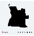 High detailed map of angola with navigation pins vector