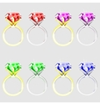 Set of rings with precious stones vector