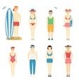 Icons of kids in summer clothing and swimsuits vector