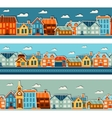 Town seamless patterns with cute colorful sticker vector
