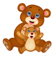 Mother and baby bear cartoon vector