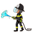 A simple drawing of a fireman holding a hose vector
