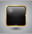 Glass square button with round corners and golden vector