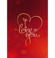 Valentines card i love you red vector