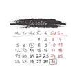 Handdrawn calendar october 2015 vector
