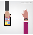 Smart watch and smart phone on background vector