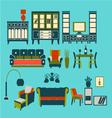 Flat interior living furniture vector