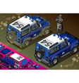Isometric police off road vehicle in rear view vector