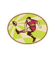 Rugby player kicking ball vector