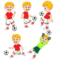 Boy cartoon playing soccer vector