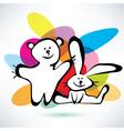 Teddy bear and bunny icons cartoon style vector