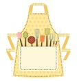 Dotted kitchen apron with kitchen utensils in the vector
