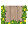 Yellow flowers and wooden fence vector