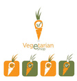 Vegetarian e shop with carrot and shopping cart vector