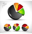 3d pie diagram for infographic or percentage data vector