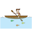 Man at rowboat vector